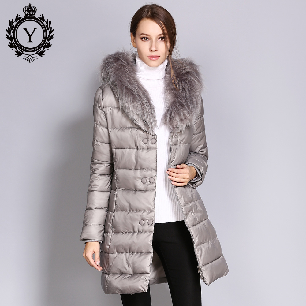 COUTUDI 2017 Winter Warm Parka Womens Solid Slim Fur Collar Coat Female Long Cotton Padded Jackets Womens Clothing Wholesale