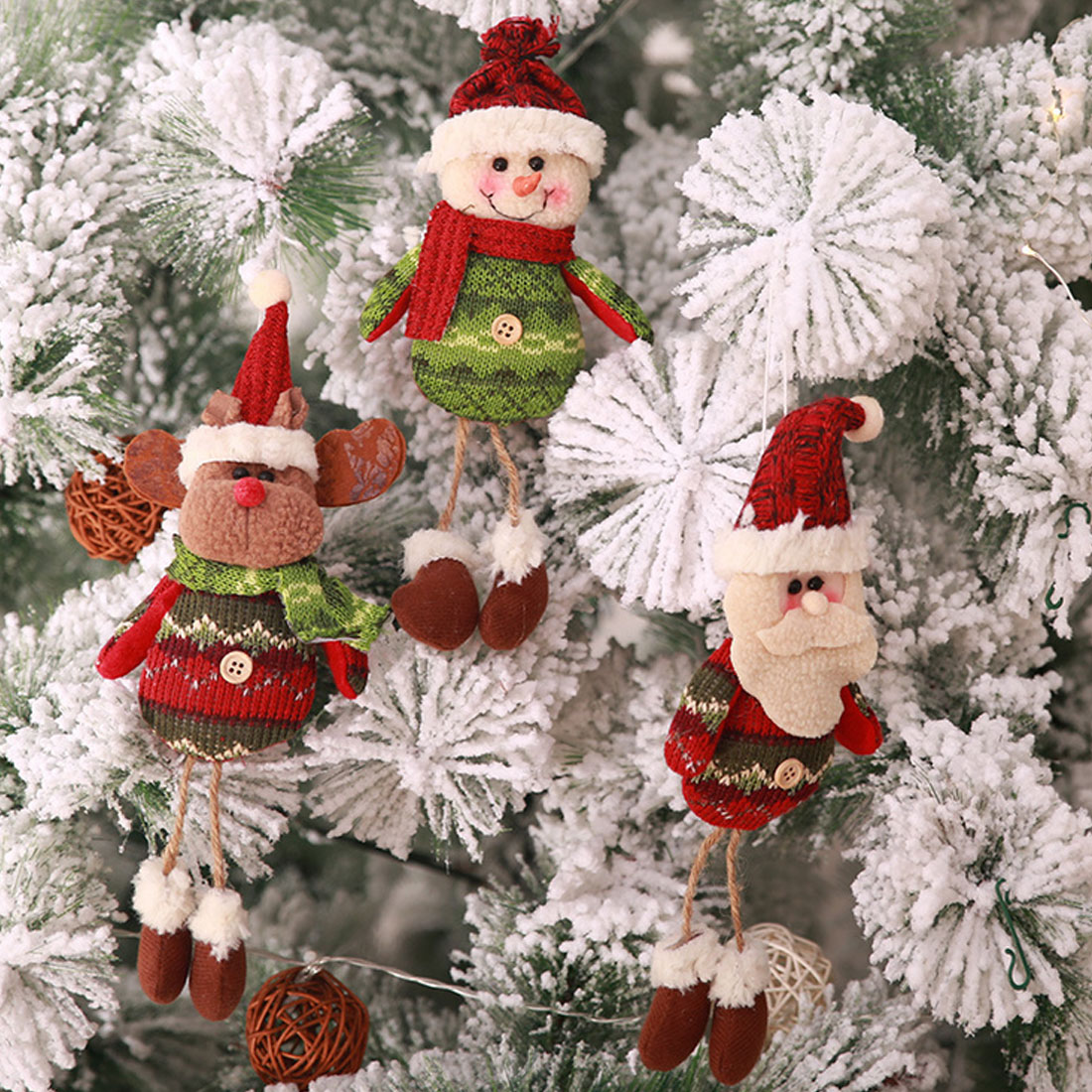 christmas decorations cute doll reindeer santa claus snowman new year hanging christmas tree decoration pendants outside in pendant drop ornaments from