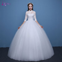 Waulizane Elegant Tulle Ball Gown Wedding Dresses Appliques High Collar Half Sleeves Floor-Length Vintage Princess Bridal Gowns