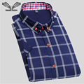 2017 Spring New Men Shirt Plaid Short Sleeve Casual Brand Clothing High Quality Business Dress Camisa Social Masculina 5XL N204