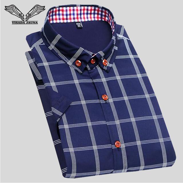 2017 primavera nuevos hombres de camisa a cuadros de manga corta casual brand clothing 5xl alta calidad del vestido de negocios camisa masculina social n204