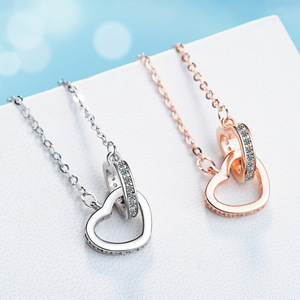 Fashion 925 sterling silver Necklace Pendant Rose Gold Double Heart Crystal Pendant For Women korea jewelry With Chain Gift(China)
