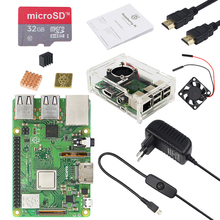 Original UK RS Raspberry Pi 3 Model B+ kit with 3A Power Adapter and Transparent Acrylic Case better than Raspberry Pi 3