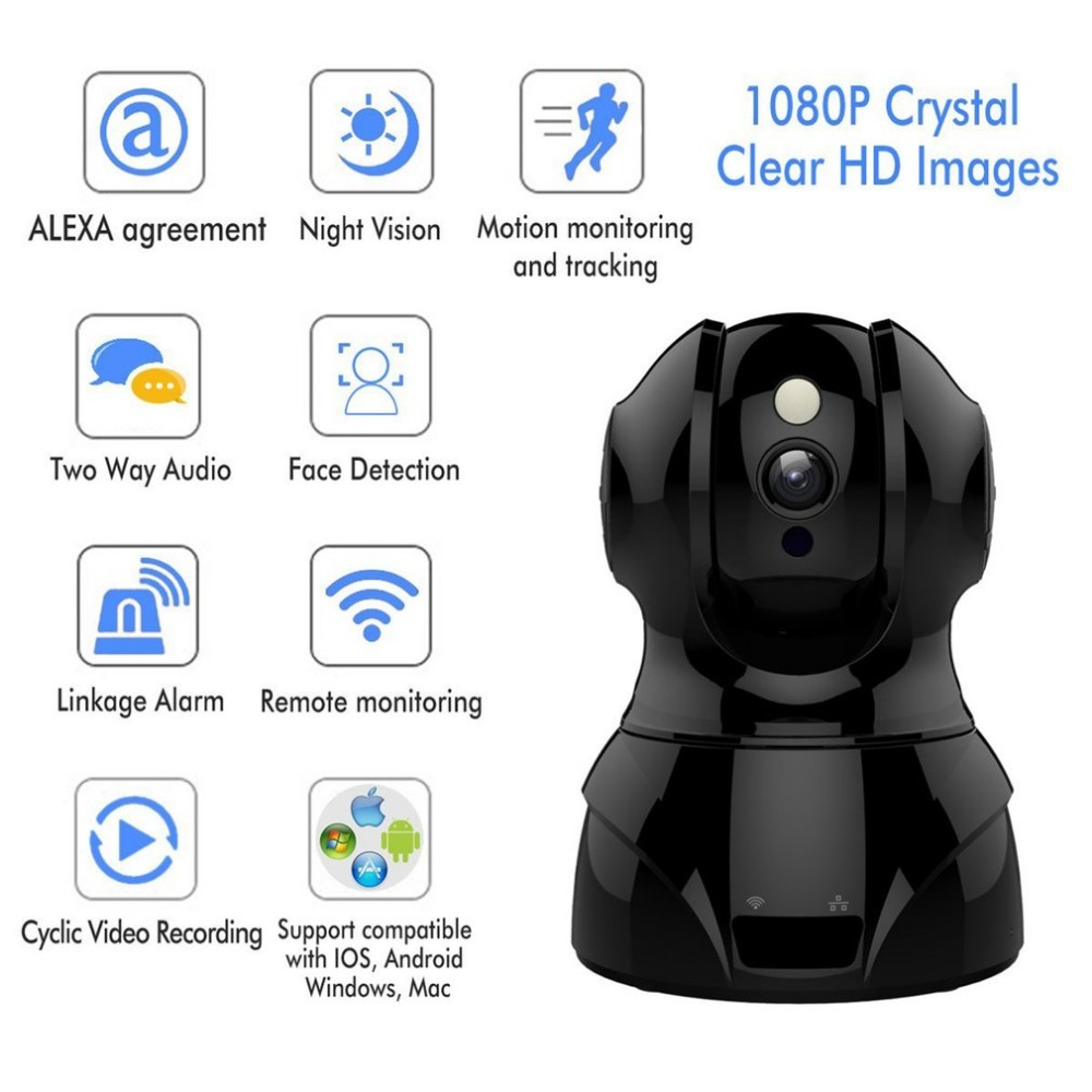 2.4GHz Wireless WiFi IP Camera 1080P HD Baby Monitor Motion Detection Two Way Audio Night Vision Camera Home Security Monitor цена