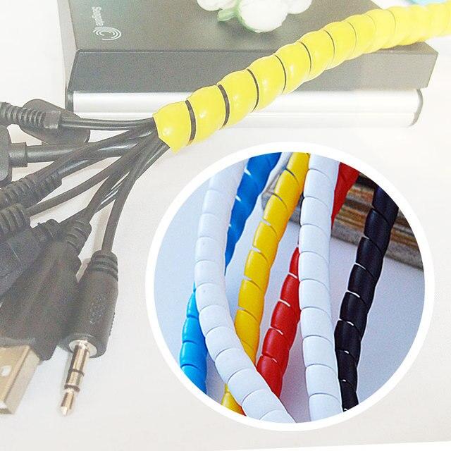 10mm draad Ontvangen netsnoer maken het perfect in orde vijf kleur spiraal bands diameter Kabel behuizing Kabel Mouwen Winding pijp