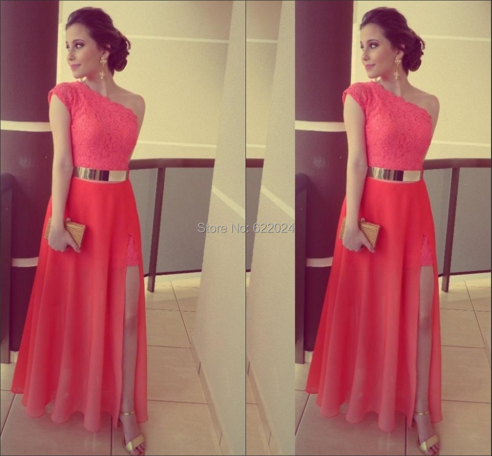 Free Shipping One Shoulder Side Slit Gold Belt Chiffon Sexy Long Red ...
