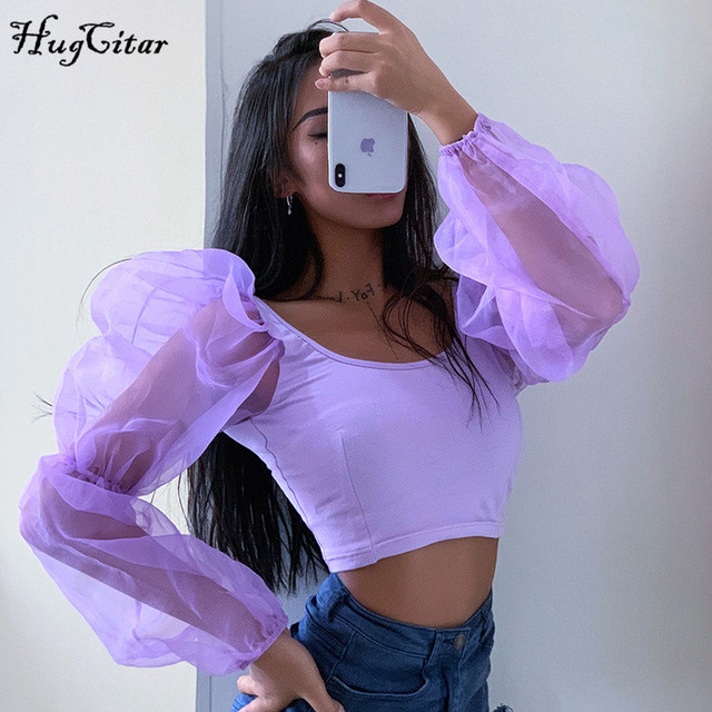 Hugcitar puff long sleeve lace mesh see-through patchwork sexy crop tops 2019 women spring fashion party streetwear T-shirts 3