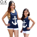 Mother Daughter Clothes T Shirt 2017 Summer Navy Anchor Matching Family Shirts Cute Bow  Family Look Mother Son Daughter Outfits