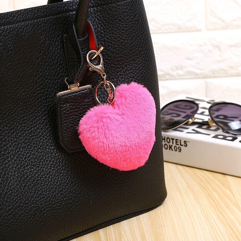 Multicolor 10cm imitatie faux groot hart konijnenbont sleutelhangers - Mode-sieraden - Foto 2