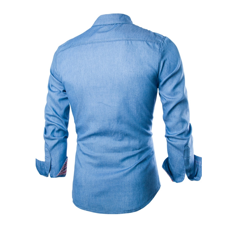 New Fashion Men Denim Jeans Shirts Casual Long Sleeve Slim Fit Cotton Shirts Size M - XXXL LB
