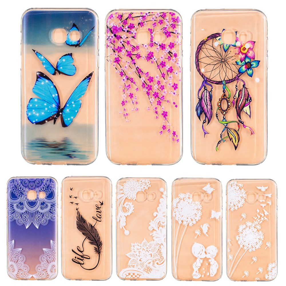 Pu leather case for samsung galaxy a7 2016 a710 peacock feather - For A520 A320 A3 J3 2017 J5 J7 Prine Case Cover Soft Clear Hollow Butterfly Feather