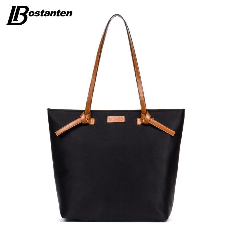 ФОТО Bostanten Women Bags Nylon Casual Tote Red/Brown Zipper Waterproof Shoulder Bag Shopping Tote Bags Weekender Satchel Handbags