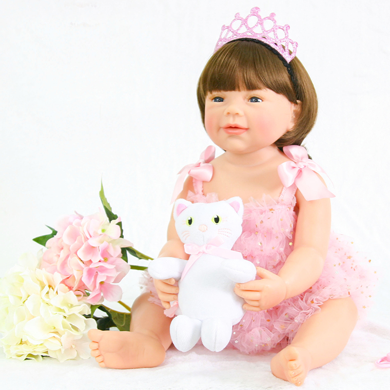 Collectible 22 Inch 56 cm Full Body Silicone Reborn Baby Girl Doll Live Princess Doll Baby Toy For Kid Christmas Birthday Gift 22 58cm rebirth doll soft silicone eva matryoshka doll princess reborn domino dress blond kid christmas gift