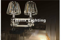 Newly Simple Clear 1 Arm and 2 Arms Crystal Bedroom Wall Lamp Crystal Sconce with 100% K9 Crystal Wall Lamp AC 100% Guaranteed
