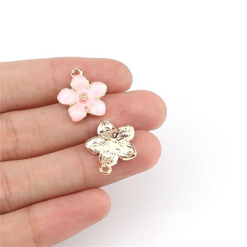 5 قطعة/الوحدة ضوء الذهب الوردي الخوخ زهر زهرة قلادة العثور على المجوهرات صنع 22220
