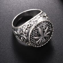 Canada Maple leaf Signet Finger Ring For Men Vintage Jewelry Male Silver Rings Anel(China)