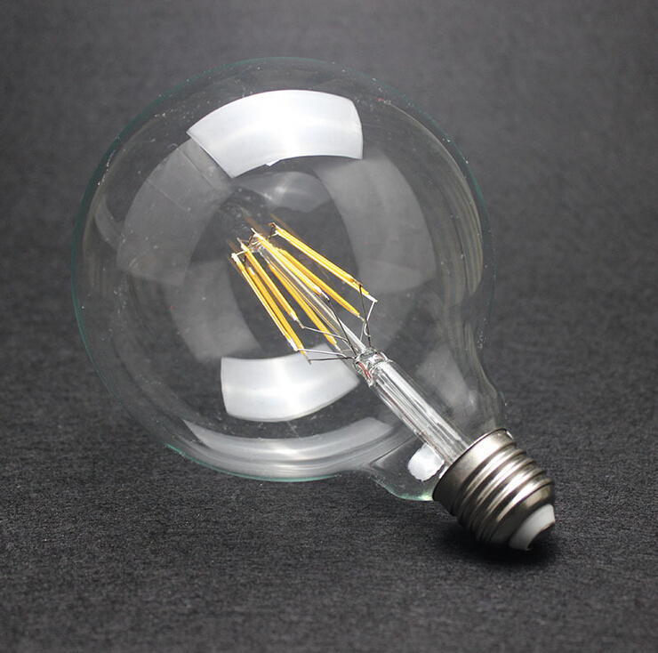 Dimmable G125 LED FILAMENT BULB LIGHT EDISON E27 BASE 110V/240V AC G125 4W 6W 8W Free Shipping edison led filament bulb g125 big global light bulb 2w 4w 6w 8w led filament bulb e27 clear glass indoor lighting lamp ac220v