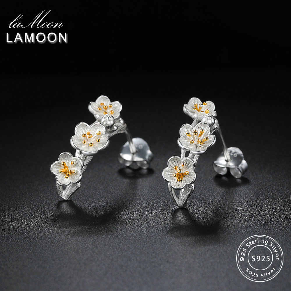 LAMOON 2018 New 2Colors Flower 100% Real 925-Sterling-Silver Stud Earrings S925 Fine Jewelry For Women Girl Gift LMEY242