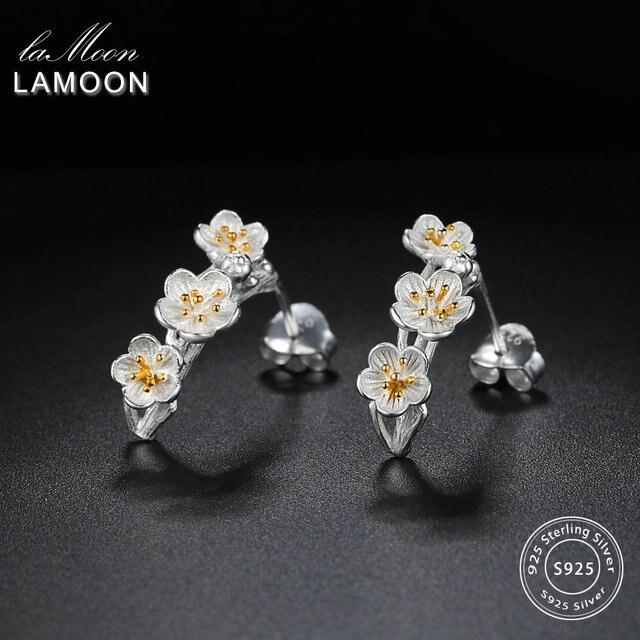 LAMOON 2018 New 2Colors Flower 100% Real 925-Sterling-Silver Stud Earrings S925