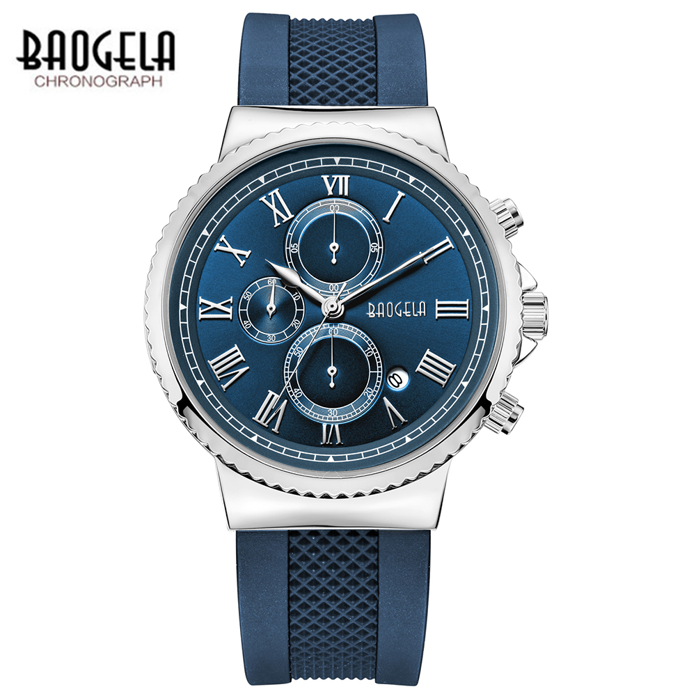 BAOGELA TOP Brand Mens Luxury Quartz Watch Men Chronograph Sport Wristwatch Male Waterproof Causal Clock Relogio Masculino jedir mens watches top brand luxury chronograph clock male sport waterproof wristwatch leather quartz watch relogio masculino