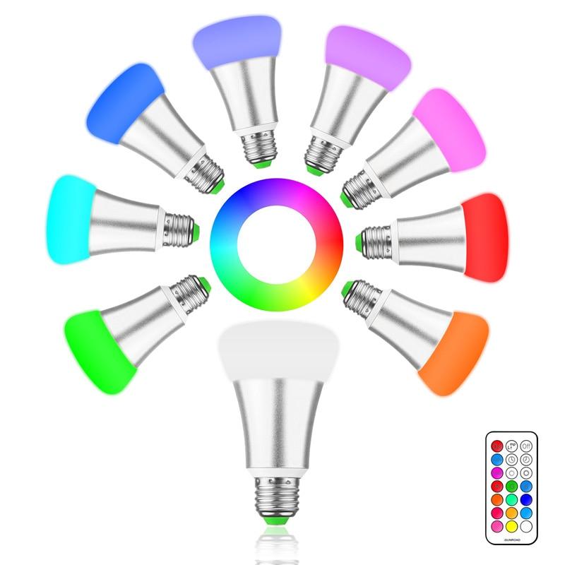 Brightness 10W E27 RGB LED Bulb Light Stage Lamp AC85-265V 12 Colors with Remote Control Led Lights for Home RGB + Cool White rgb led bulb 9w 15w rgb bulb e27 e26 e14 gu10 b22 ac 85 265v rgb led lamp with remote control multi color lamp