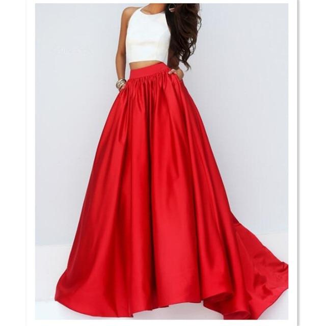 c985ba805190e5 WBCTW 7XL Plus Size Maxi Long Skirt For Women High Waist Red Solid Vintage  TuTu Pleated Runway Fall Winter Long Warm Woman Skirt