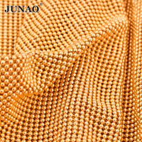 JUNAO 34*120cm Gold Metal Trim Rhinestone Fabric Sheet Aluminum Mesh Strass Ribbon Crystal Appliques DIY Clothes Jewelry Making