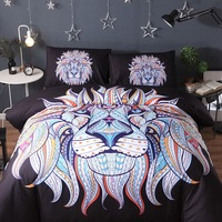 Black Quilt Cover Lion Head Pattern Bedding Set 3pcs Duvet Cover And Pillow Case Indian God