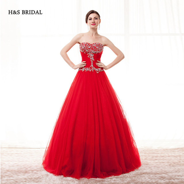 H&S BRIDAL Red Purple Blue Cheap Organza Ball Gown Prom Dresses ...
