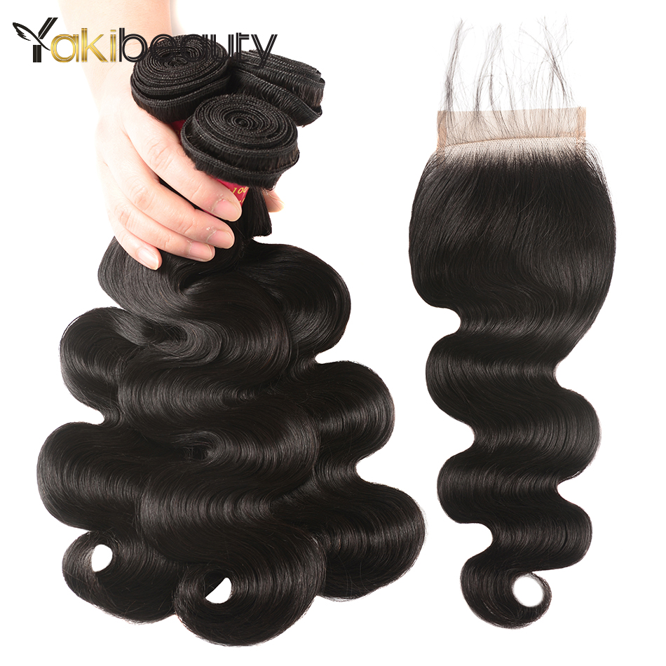 Body Wave Brazilian Hair Weave 3 Bundles With Closure Free Part Human Hair Bundles With Closure Yakibeauty Remy Hair Extensions