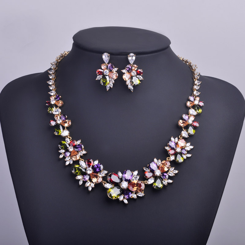 High Quality Stunning Evening Party Jewelry Sets Chic Earrings Necklace AAA CZ Zircon Kiss Letter Flower Bijuterias AuspiciousHigh Quality Stunning Evening Party Jewelry Sets Chic Earrings Necklace AAA CZ Zircon Kiss Letter Flower Bijuterias Auspicious