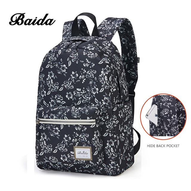 BAIDA Fashion Floral Print Backpack Flower Pattern Women Back Pack School Bookbag Black Bags for Teenage Girls