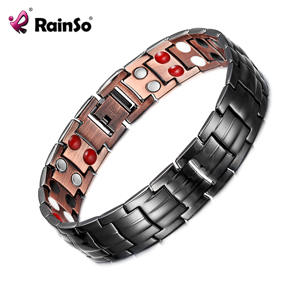 RainSo Men Bracelet Health Double Row Magnetic, FIR, Negative ion, Germanium Classic Black Copper Bracelets Arthritis Homme 2019RainSo Men Bracelet Health Double Row Magnetic, FIR, Negative ion, Germanium Classic Black Copper Bracelets Arthritis Homme 2019