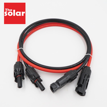 1pair X 4mm2 12AWG 3ft 6ft 9ft 15ft 30ft PV Connector Extension Connect branch black parallel Series extend cable