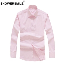 SHOWERSMILE Mens Pink Social Shirts Slim Fit Dress Shirt Male Long Sleeve Bussiness Summer Autumn Formal Office Shirts Men