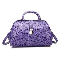 32x20CM Genuine Leather Retro Doctor Bag Embossed Handbags Casual Fashion Shoulder Messenger Bags Handbags A2544~1