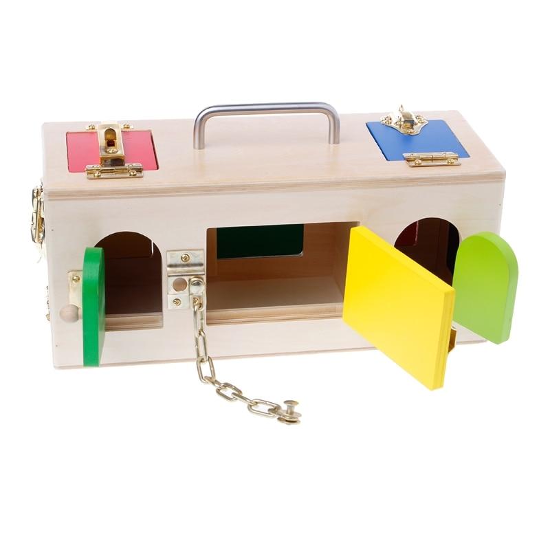 Livraison gratuite Montessori coloré serrure boîte enfants enfants éducatifs jouets de formation préscolaire