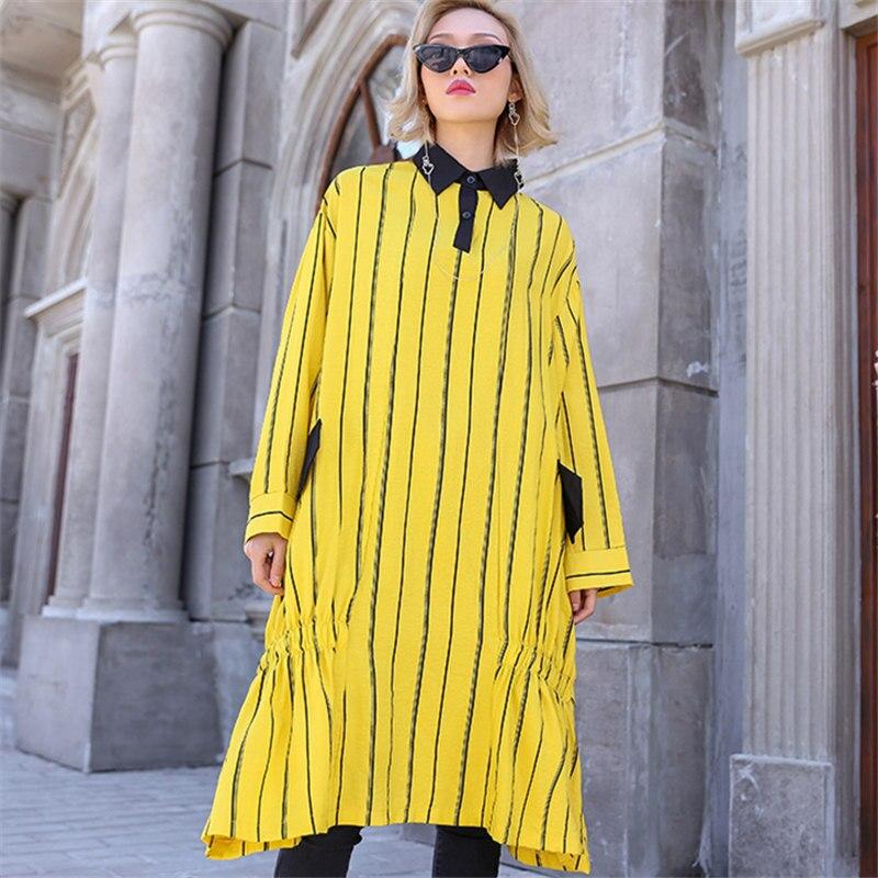 Chemise Robe Femelle Black Manches Plus Robes yellow Coréen Fleurs Longue Femmes Taille 2019 Streetwear Printemps Automne Vêtements À Longues Rayé Lâche hsQrCxBtd