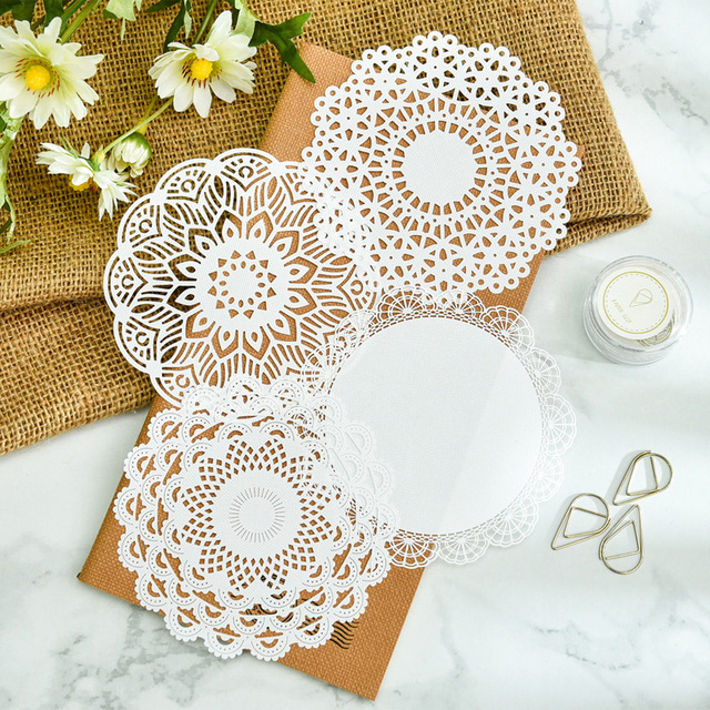Kljuyp White Lace Paper Doilies Placemats For Wedding Party