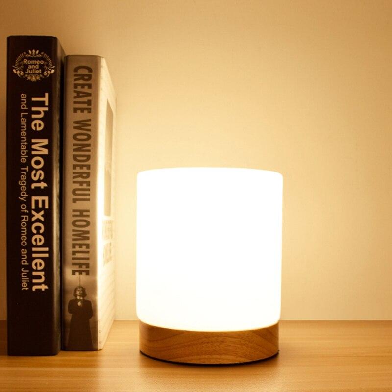 Настольная лампа из дерева настольная лампа спальня праздник освещения Стекло абажур украшением кровать lampsof свет лампы столик древесины и...