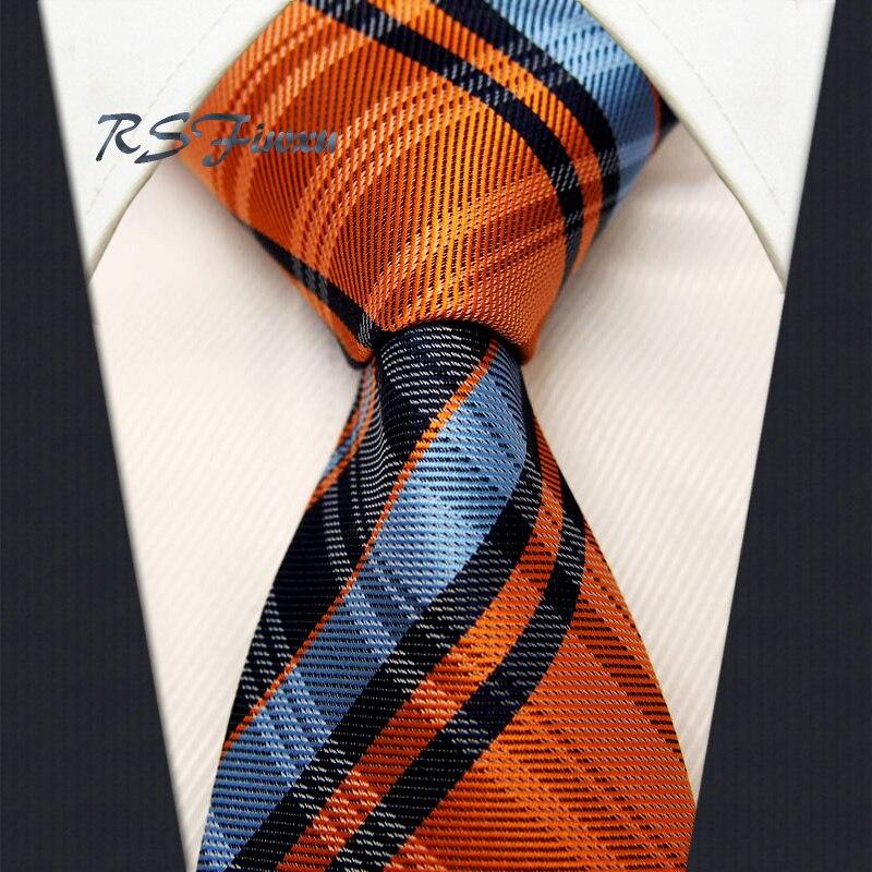Livraison Gratuite Vérifié Bleu Orange Marine Classique Hommes Cravate 100% Soie Nouveau Jacquard Tissé Cravate De Mariage En Gros