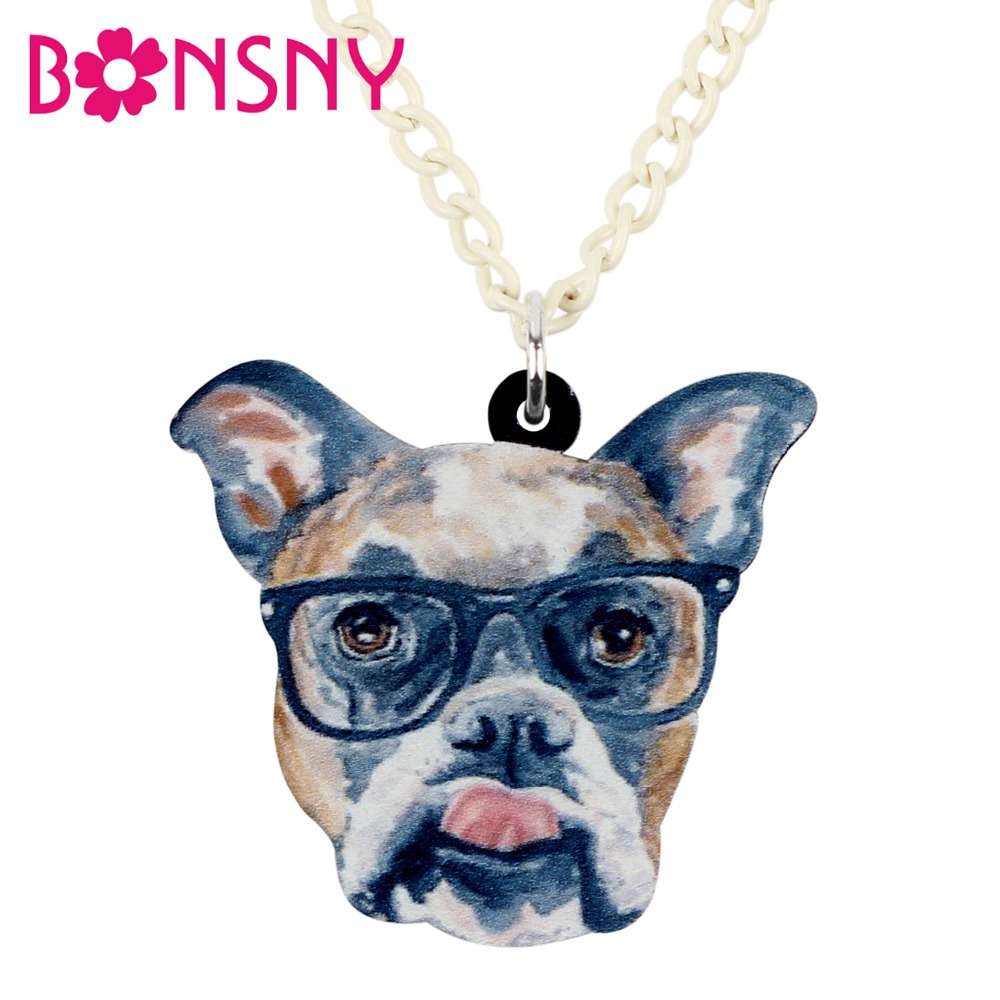 Bonsny Statement Acrylic Glasses Boxer Dog Necklace Pendant Collar Animal Jewelry For Women Girls Teens Kids Cartoon Gifts Bulk