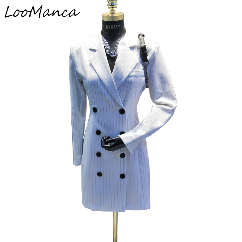 20118 New spring autumn white jacket blazer feminino jacket vintage plaid double breasted women blazers and jackets