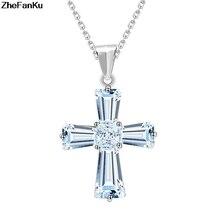 3b4a1a1cc53d Elegante Cubic Zircon Cruz collares colgantes plata Color cruz cristiana  Jesús joyería para mujeres Accesorios