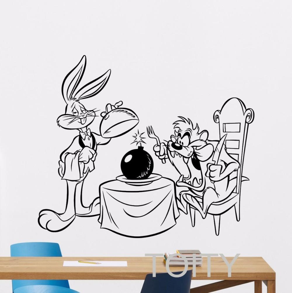 Bugs bunny taz wall sticker funny vinyl decal nursery art for Cartoon wall mural