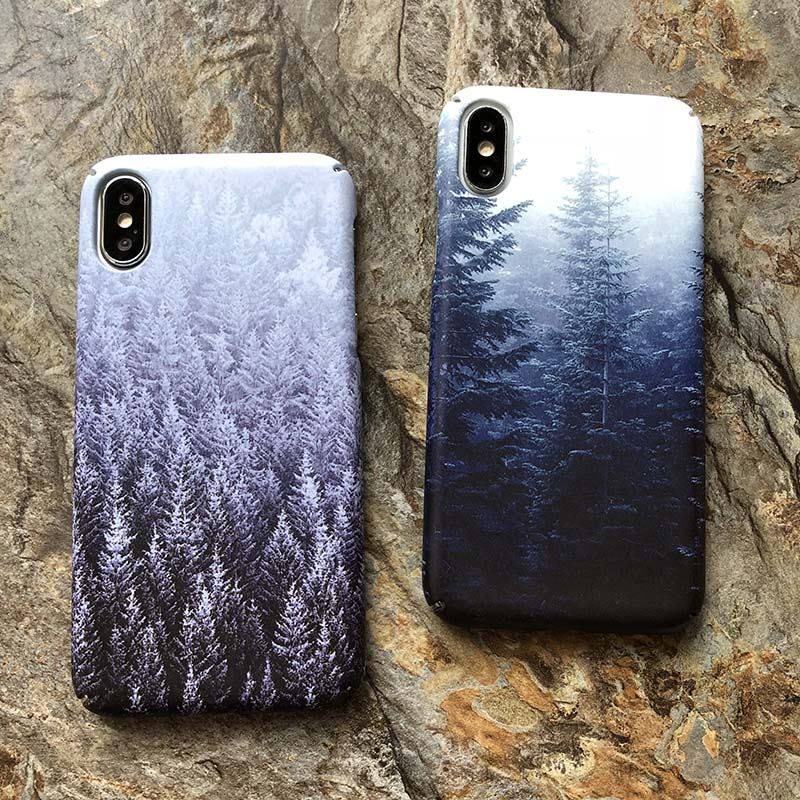 Vintage Mountain Forest Clouds Print Phone Iphone X 7 Plus For Iphone 6 6S 7 8 Plus Hard Cover Landscape Coque