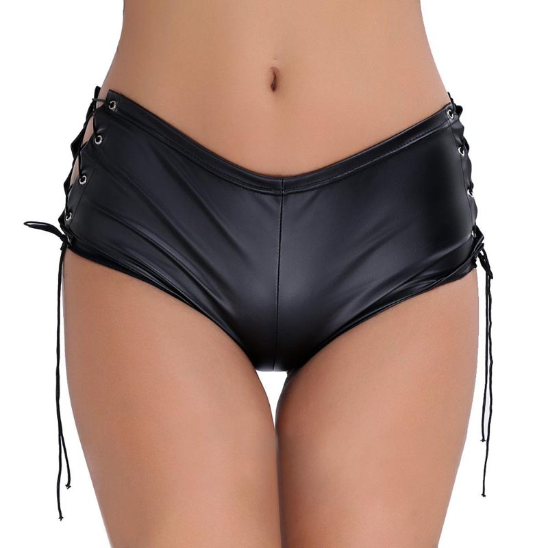 Hot Underpants Women's Patent Leather Lace Up Side Skinny Hotpants Clubwear Dancing Rave Mini Sexy Shorts