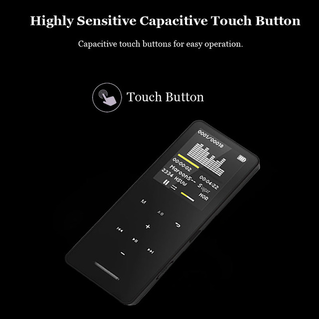 HLTON 8GB Metal Bluetooth MP3 Player 1.8 Inch Touch Button Voice Record Video E-Book Image Slim Lossless Music Player Walkman