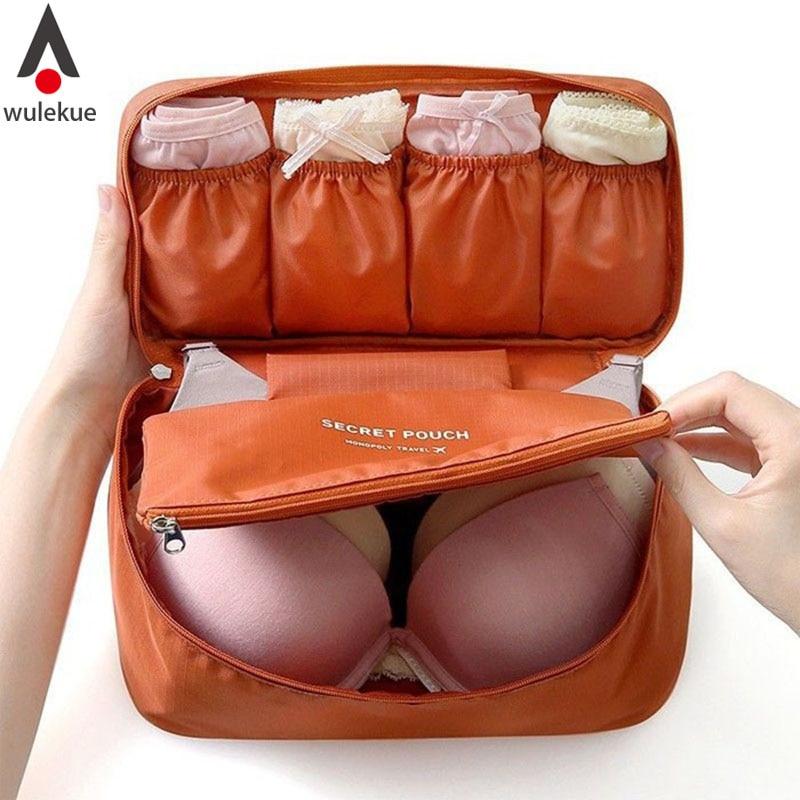 Wulekue Accesorios de viaje Bolsa de almacenamiento para ropa interior para mujer Ropa interior de lencería Sujetador Organizador Bolsa de cosméticos Maleta Maleta