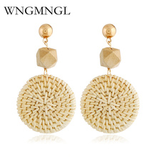 WNGMNGL Bohemian New Natural Color Rattan Straw Woven Handmade Drop Earrings for Women Personality Vintage Statement Jewelry